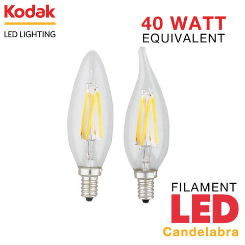 Kodak LED Filament Candelabra - E12 Base - 4 Watt - 40 Watt Equal - Dimmable