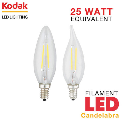 Kodak LED Filament Candelabra - E12 Base - 2 Watt - 25 Watt Equal - Dimmable