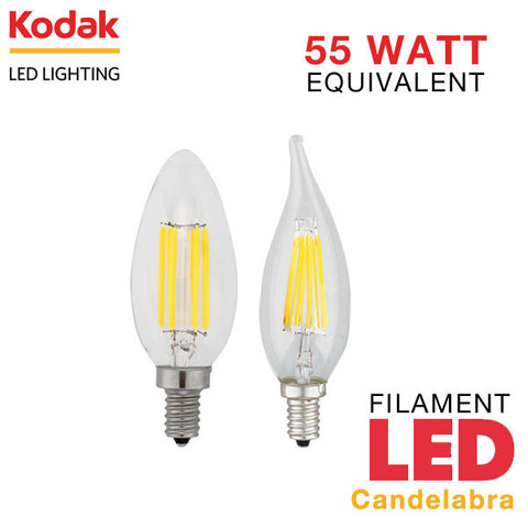Kodak LED Filament Candelabra - E12 Base - 6 Watt - 55 Watt Equal - Dimmable