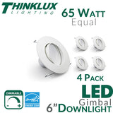"Thinklux LED 5"" or 6"" Adjustable Gimbal Recessed Downlight Kit - 11W - 65 Watt Equal - Dimmable"