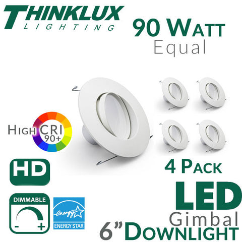 "Thinklux LED 5"" or 6"" Adjustable Gimbal Recessed Downlight Kit - High 90+ CRI - 13W - 90 Watt Equal - Dimmable"