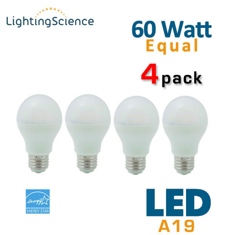 Lighting Science LED A19 Bulb - 10 Watt - 60 Watt Replacement - Dimmable - 4 Pack