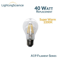 Lighting Science A19 Edison Filament LED Bulb - 4 Watts - 40 Watt Equal - 2200K