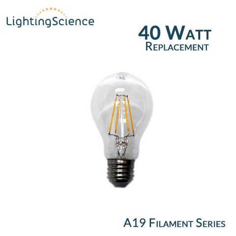 Lighting Science A19 Edison Filament LED Bulb - 4 Watts - 40 Watt Equal - 2700K