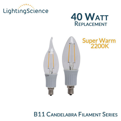 Lighting Science B11 Filament Candelabra - E12 Base - 40 Watt Equal - 2200K