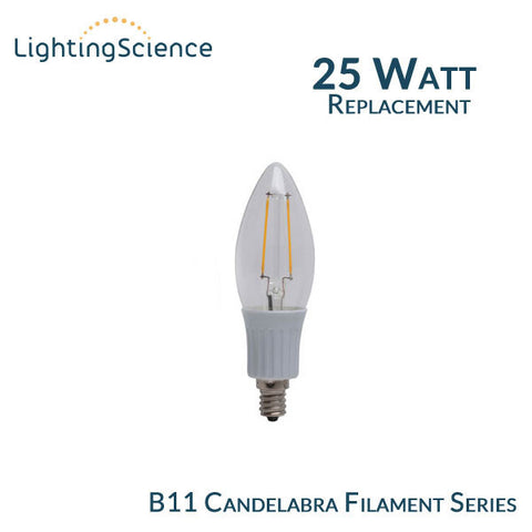 Lighting Science B11 Filament Candelabra - E12 Base - 25 Watt Equal - 2700K