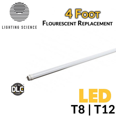 Lighting Science LSPro LED Fluorescent Replacement Tube - 4 Foot - 18 Watt - Ballast Bypass - DLC Qualified - Shatterproof