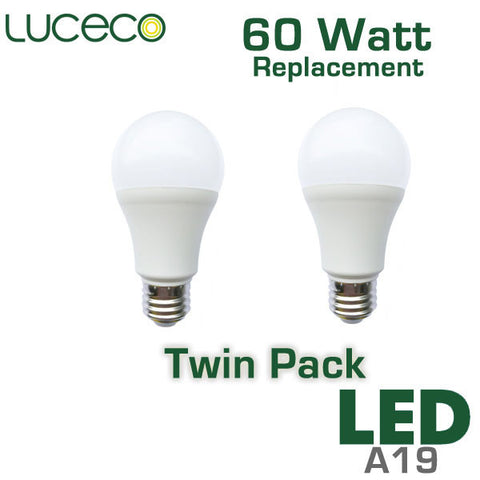 Luceco 60 Watt Equal LED A19 2 Pack - 9.5 Watts - Non Dimmable