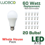 Luceco 60 Watt Equal LED A19 20 Pack - 9.5 Watts - Non Dimmable