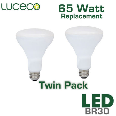 Luceco 65 Watt Equal LED BR30 Flood 2 Pack - 8 Watts - Dimmable