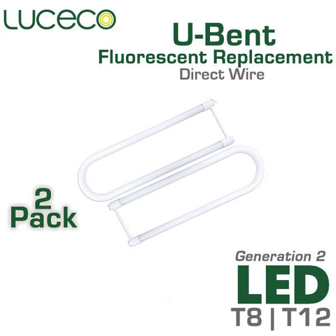 Luceco - U-Bent - LED Tube Light - 18 Watts - Ballast Bypass Direct Wire - Shatterproof - Twin Pack