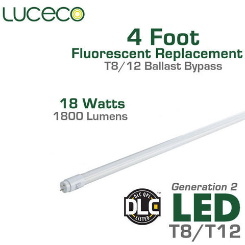 Luceco LED Fluorescent Replacement Tube Generation 2 - 4 FT - 18 Watt  - Ballast Bypass Direct Wire - Full Glass Body - Shatterproof