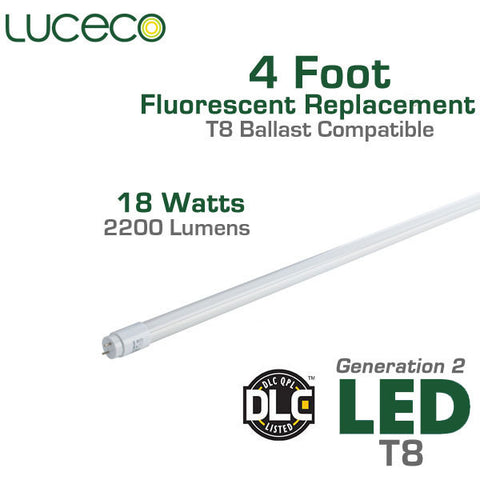 Luceco LED Fluorescent Replacement Tube Generation 2 - 4 FT - 18 Watt - T8 Ballast Compatible - Full Glass Body - Shatterproof - Must Install with T8 Ballast