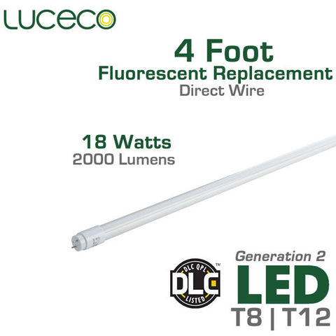 Luceco LED Fluorescent Replacement Tube Generation 2 High Output 2000 Lumen - 4 FT - 18 Watt - Ballast Bypass Direct Wire - Full Glass Body - Shatterproof