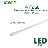 Luceco LED Fluorescent Replacement Tube - 4 FT - 22 Watt  -  2400 Lumens - Ballast Bypass Direct Wire