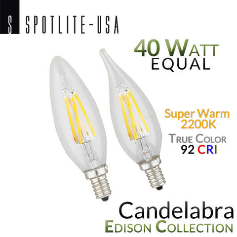 Spotlite USA Edison Collection Vintage LED Filament - E12 Base - Candelabra - 2200K - 92 CRI - 4 Watt - 40 Watt Equal