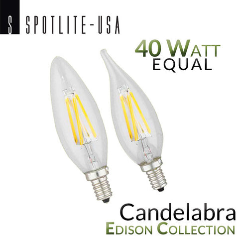 Spotlite USA Edison Collection Vintage LED Filament - E12 Base - Candelabra - 4 Watt - 40 Watt Equal