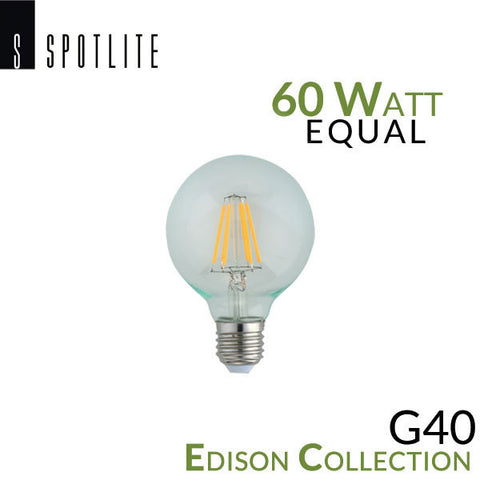 Spotlite USA Edison Collection Vintage LED G40 E26 Filament Bulb - 5 Watt - 60 Watt Equal