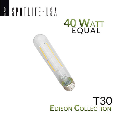 Spotlite USA Edison Collection Vintage LED T30 Filament Picture Bulb - 4 Watt - 40 Watt Equal