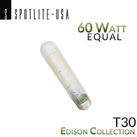Spotlite USA Edison Collection Vintage LED T30 Filament Picture Bulb - 6 Watt - 60 Watt Equal