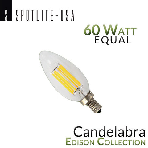 Spotlite USA Edison Collection Vintage LED Candelabra Filament Bulb - 6 Watt - 60 Watt Equal