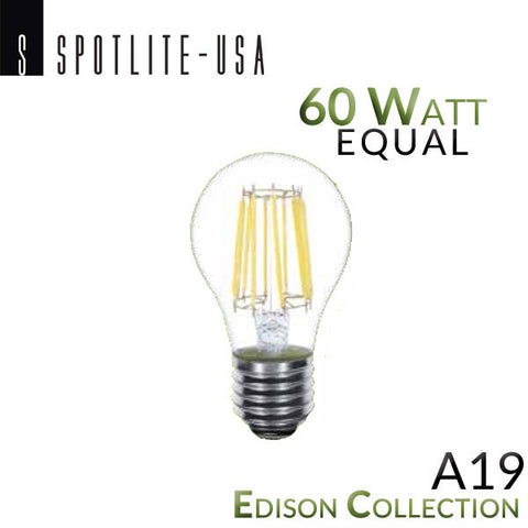 Spotlite USA Edison Collection Vintage LED A19 Filament Bulb - 7 Watt - 60 Watt Equal