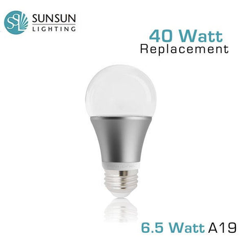 SUNSUN Lighting - 6.5 Watt - Dimmable A19 LED Light Bulb - 450 Lumens - 40 Watt Equal