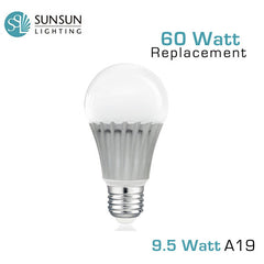 SUNSUN Lighting - 9.5 Watt - Dimmable A19 LED Light Bulb - 800 Lumens - 60 Watt Equal