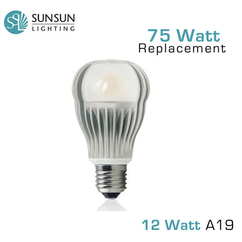 SUNSUN Lighting - 12 Watt - Dimmable A19 LED Light Bulb - 1100 Lumens - 75 Watt Equal