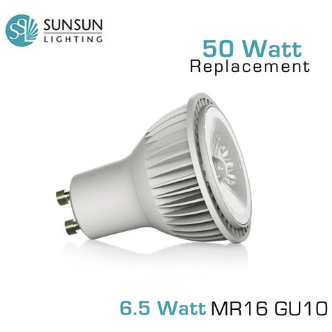 SUNSUN 6.5 Watt MR16 GU10 Base - 50 Watt Equal - Dimmable LED Spotlight