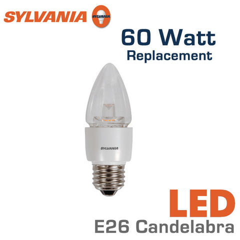 Sylvania LED Candelabra Bulb - 7 Watts - 60 Watt Equal - E26 Base - Dimmable