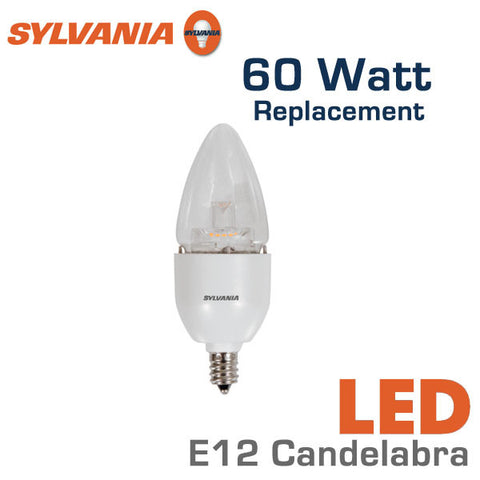Sylvania LED Candelabra Bulb - 7 Watts - 60 Watt Equal - E12 Base - Dimmable