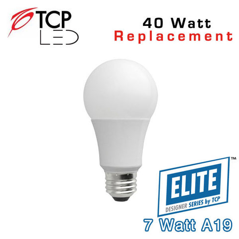 TCP Elite A19 - 7 Watt - 40 Watt Equal - Suitable for Fully Enclosed Fixtures