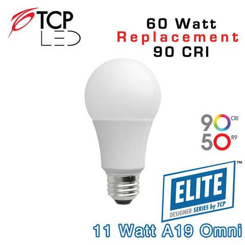TCP Elite A19 - Omni-Directional - 11 Watt - 60 Watt Equal - 90 CRI