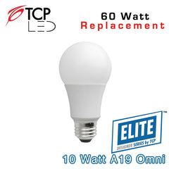 TCP Elite A19 - Omni-Directional - 10 Watt - 60 Watt Equal