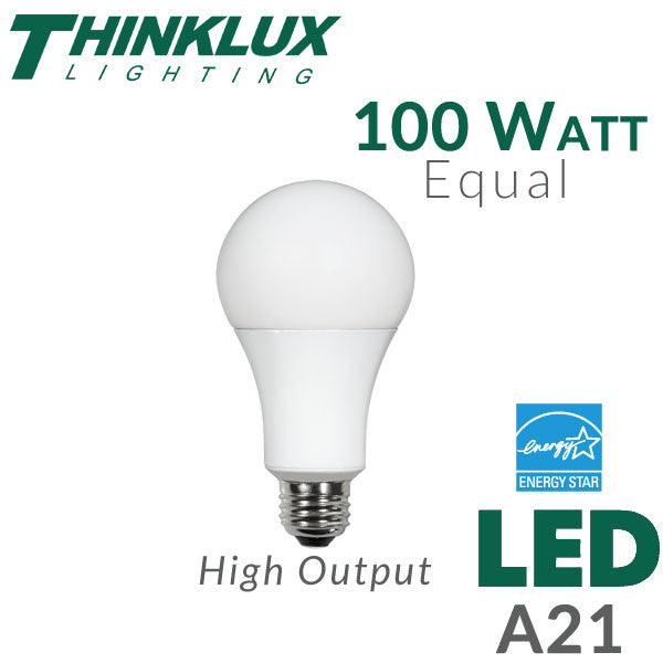 LED Light Bulb 100 Watt Equal Dimmable – EarthLED.com:Thinklux High Output Omni-Directional - A21 LED Light Bulb - 15 Watt - 100  Watt Equal - Energy Star Qualified - Dimmable - Shatterproof,Lighting