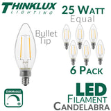 Thinklux Filament Candelabra LED Light Bulb - 2 Watts - 25 Watt Equal - Dimmable - E12 Base - Bullet Tip - 6 Pack