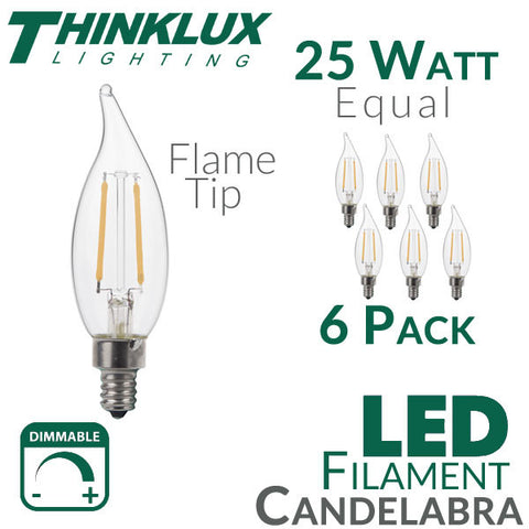 Thinklux Filament Candelabra LED Light Bulb - 2 Watts - 25 Watt Equal - Dimmable - E12 Base - Flame Tip - 6 Pack