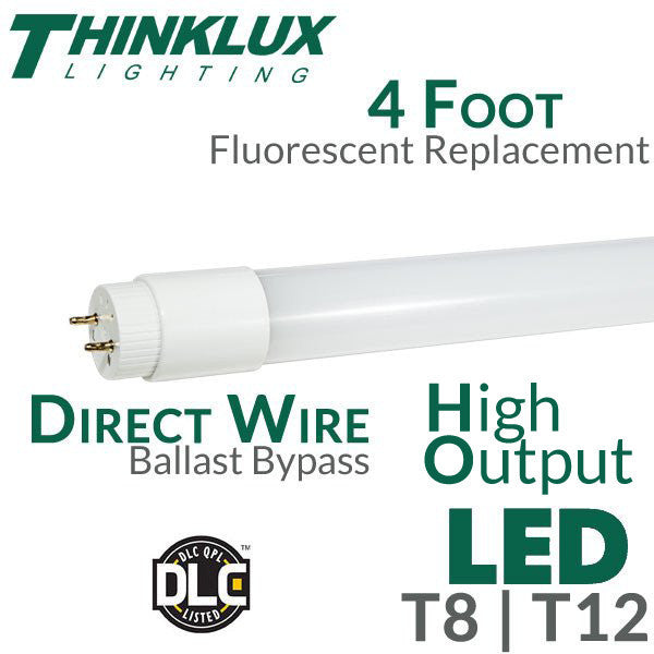 thinklux led fluorescent replacement tube 4 foot 18 watt lumen high output