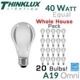 Thinklux A19 Omni-Directional LED Bulb  - 7 Watt - 40 Watt Equal - Energy Star Qualified - Whole House Pack - 20 Bulbs