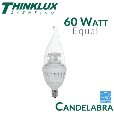 Thinklux LED Candelabra Bulb - 7 Watt - 60 Watt Equal - E12 Base