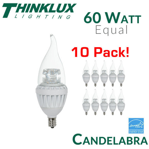 Thinklux LED Candelabra Bulb - 7 Watt - 60 Watt Equal - E12 Base - 10 Pack