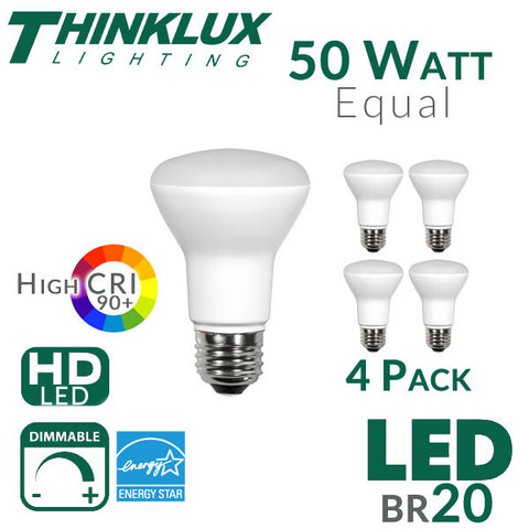 Thinklux BR20 LED Flood Light Bulb - High 90+ CRI - 7W - 50W Equivalent - Shatterproof - Dimmable - 4 Pack