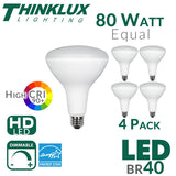Thinklux BR40 LED Flood Light Bulb - High 90+ CRI - 13W - 80W Equivalent - Shatterproof - Dimmable - 4 Pack