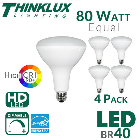 thinklux br40 led flood light bulb high 90 cri 13w 80w equivalent dimmable 4 pack