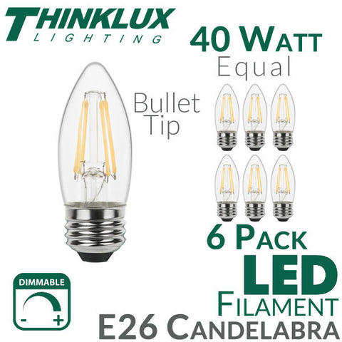 Thinklux Filament Candelabra LED Light Bulb - 4.5 Watts - 40 Watt Equal - Dimmable - E26 Base - Bullet Tip - 6 Pack