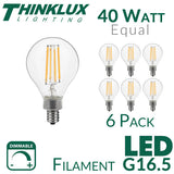 Thinklux Filament LED G16.5 2 Inch Globe Edison Style Light Bulb - 4.5 Watt - 40 Watt Equal - Dimmable - E12 Base - 6 Pack