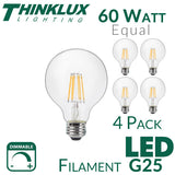 Thinklux Filament LED G25 3 Inch Globe Edison Style Light Bulb - 7 Watt - 60 Watt Equal - Dimmable - 4 Pack