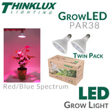 Thinklux GrowLED PAR38 - LED Grow Light Bulb - 16.5 Watts - 90 Watt Equal - Red/Blue Spectrum - Twin Pack