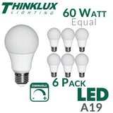 Thinklux A19 LED Light Bulb - 9 Watt - 60 Watt Equal - Dimmable - Shatterproof - 6 Pack